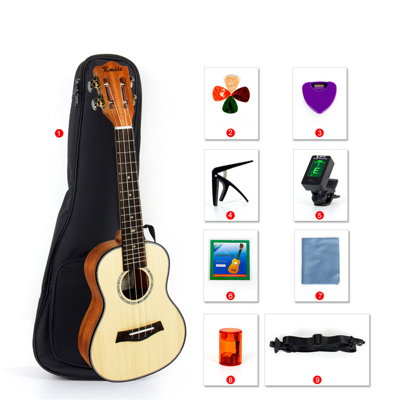 Kmise Classical Concert Ukulele Beginner Kit Solid Spruce Mahogany 23 Ukelele Hawaii Guitar for Starter and Music Lover